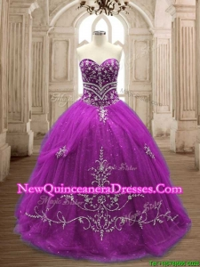 Romantic Applique Eggplant Purple Tulle Quinceanera Dress with Brush Train