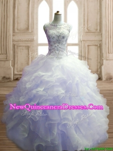 See Through Scoop Lavender Sweet 16 Dress with Beading and Ruffles