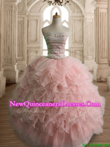 Wonderful Peach Organza Quinceanera Dress with Beading and Ruffles