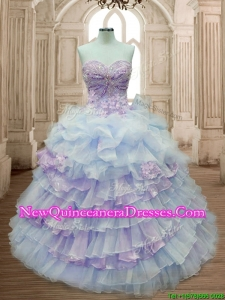 Elegant Big Puffy Ruffled Layers and Appliques Quinceanera Dress in Organza