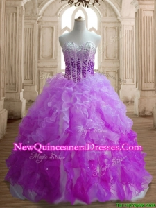 Modest Lilac and Fuchsia Sweet 16 Dress with Beading and Ruffles