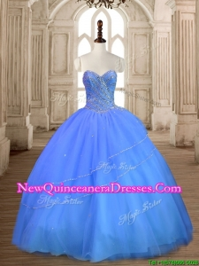 Most Popular Tulle Big Puffy Beaded Sweet 16 Dress in Blue