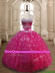 New Style Fuchsia Sweet 16 Dress with Beading and Sequins