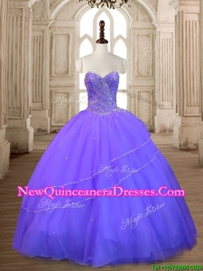 New Style Lavender Tulle Quinceanera Dress with Beading for Spring