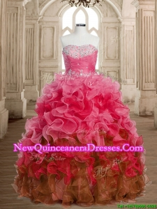 Perfect Big Puffy Beaded and Ruffles Quinceanera Dress in Multi Color