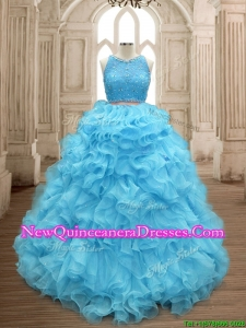 Two Piece Scoop Beaded and Ruffles Quinceanera Dress in Baby Blue