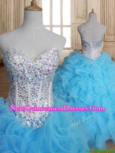 Luxurious Beaded Bodice and Ruffled Sweet 16 Dress in Baby Blue