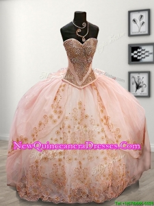 Lovely Beaded and Applique Pink Sweet 16 Dress with Puffy Skirt