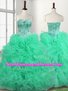 Popular Big Puffy Turquoise Quinceanera Dress with Beading and Ruffles