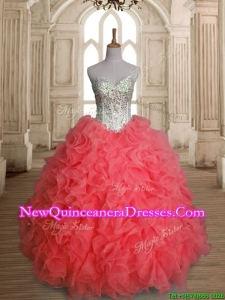 Beautiful Beaded Bodice and Ruffled Quinceanera Dress in Watermelon Red