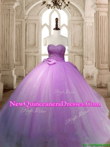 Beautiful Lavender Tulle Quinceanera Dress with Beading and Bowknot