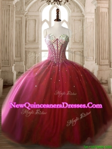 Classical Big Puffy Wine Red Quinceanera Dress with Beading