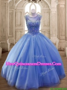 Classical Scoop Beaded Tulle Sweet 16 Dress in Blue