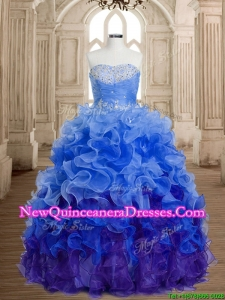 Discount Beaded and Ruffled Organza Sweet 16 Dress in Rainbow