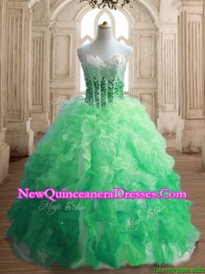 Inexpensive Beaded and Ruffled Quinceanera Dress in Gradient Color