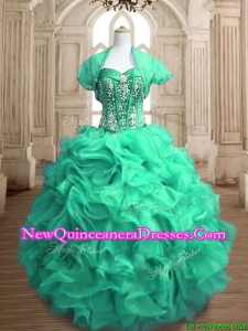 Perfect Beaded and Ruffled Sweet 16 Dress in Spring Green