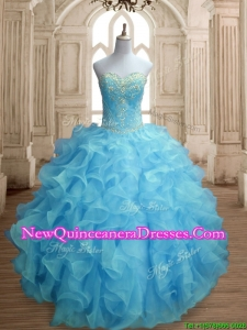 Popular Beaded and Ruffled Quinceanera Dress in Baby Blue