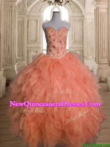 Unique Big Puffy Orange Red Quinceanera Dress with Beading and Ruffles