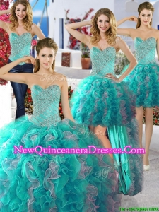 Discount Organza Detachable Quinceanera Dresses with Beading and Ruffles