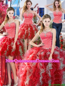 Popular Beaded and Ruffled Detachable Quinceanera Dresses in Red and Grey
