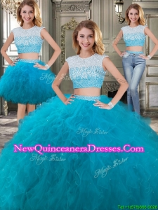 Two Piece Scoop Cap Sleeves Detachable Sweet 16 Dresses with Beading and Ruffles