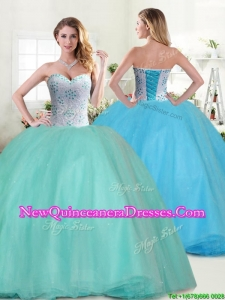 Perfect Big Puffy Apple Green Quinceanera Dress with Beading