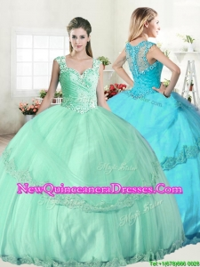 Wonderful Straps Apple Green Quinceanera Dress with Beading and Appliques