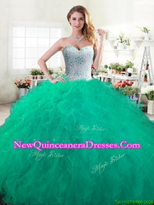 Discount Green Sweet 16 Dress with Beading and Ruffles for Spring