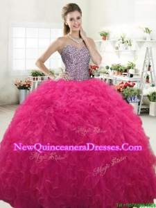 Perfect Hot Pink Tulle Sweet 16 Dress with Beading and Ruffles