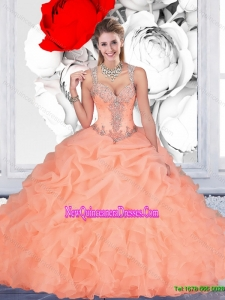 Top Seller Orange Sweet 15 Dresses with Beading and Pick Ups for 2015