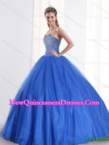 Pretty Sequined Royal Blue 2015 Quinceanera Dress with Sweetheart