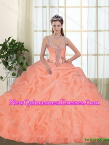 Pretty Beading and Appliques Quinceanera Dresses in Orange Red for 2015