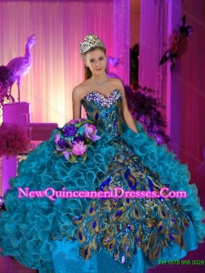 Beautiful Beaded and Ruffles Sweetheart Peacock Quinceanera Dresses for 2015 Summer