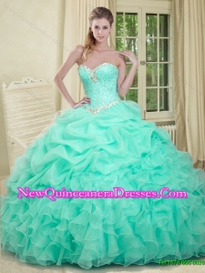 Luxurious 2015 Fall Sweetheart Yellow Quinceanera Dress with Beading and Ruffles