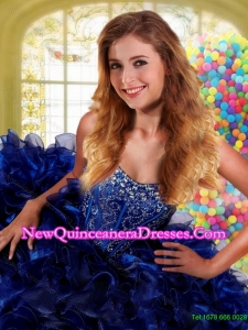 Top Seller 2015 Sweetheart Beading and Ruffles Royal Blue Quinceanera Dress