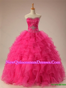 2015 Popular Beaded Quinceanera Dresses with Ruffles in Organza