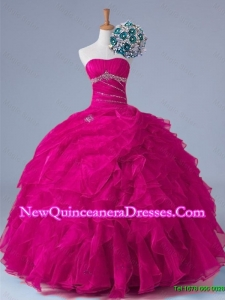 2015 Popular Strapless Beaded Quinceanera Gowns in Fuchsia