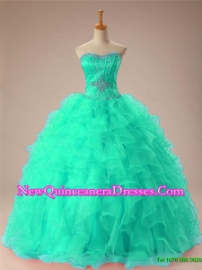 2015 Romantic Sweetheart Beaded Quinceanera Dresses with Ruffles