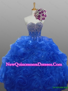 2015 Sweetheart Quinceanera Dresses with Beading and Rolling Flowers
