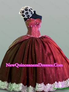 Dynamic Sweetheart Lace Quinceanera Gowns in Taffeta for 2015