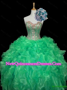 Top Seller Turquoise Ball Gown Quinceanera Dresses with Sequins and Ruffles