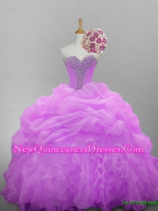 2015 Pretty Sweetheart Quinceanera Dresses with Beading and Ruffled Layers