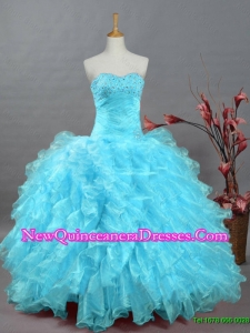 2015 Wonderful Beading Aqua Blue Quinceanera Dresses in Organza