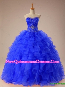 Artistic Beaded and Ruffles Quinceanera Dresses in Organza