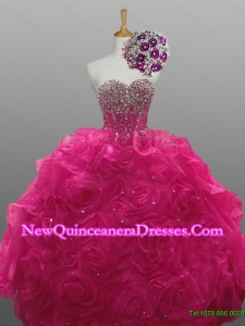 Beading and Rolling Flowers Sweetheart Quinceanera Dresses for 2015