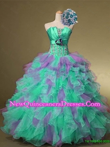 2015 Delicate Strapless Quinceanera Dresses with Beading and Ruffles