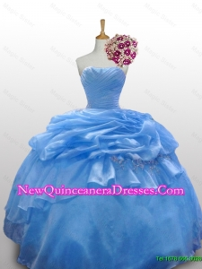 2015 Flirting Strapless Quinceanera Dresses with Paillette and Ruffled Layers