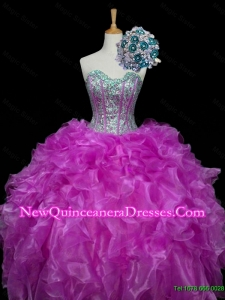 2015 Perfect Ball Gown Fuchsia Quinceanera Dresses with Sequins and Ruffles