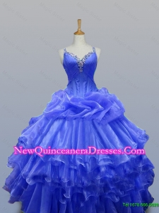 2015 Wonderful Straps Quinceanera Gowns with Beading in Organza