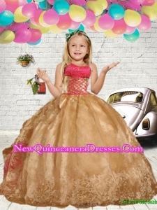 2016 Fall Gold Embroidery Little Girl Pageant Dress with Ruffles